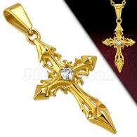 Кулон Крест с камнем